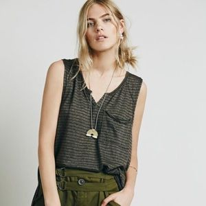 Free People Weekend Warrior Grey Tank Medium